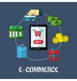 E-commerce flat concept showing payment options vector image