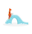 girl gets on the ice hill to ride vector image vector image