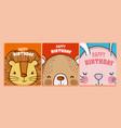 happy birthday to you cards animal cartoon vector image vector image