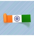 India Flag on realistic scroll paper Label vector image