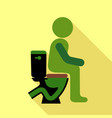 man sitting on the toilet icon flat style vector image