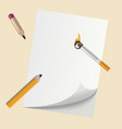 realistic pencils on blank paper with smoking vector image vector image
