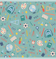 school supplies pattern on turquoise background vector image