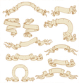 Set of ribbons-banners scrolls of parchment vector image vector image