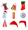 set realistic christmas icons on white background vector image vector image