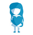 silhouette pretty girl with heart in the hand and vector image vector image