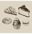 Sketch cakes vector image vector image