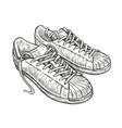 sport shoes sketch hand drawn vintage vector image