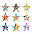 stars colored triangles isolated objects vector image