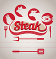 Steak Label and Icons vector image