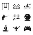 swimming pool icons set simple style vector image vector image