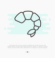 thin line icon of shrimp for logo vector image vector image