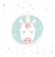 unicorn hand drawn face character vector image