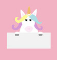 unicorn head face hanging on paper board template vector image vector image
