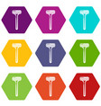 woman razor icons set 9 vector image