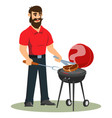 a man is cooking barbecue in his backyard vector image vector image