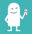 Animated personality man with ice cream vector image vector image