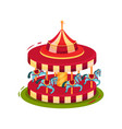 bright red merry-go-round with blue horses vector image vector image