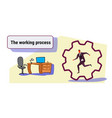 businessman running cog wheel deadline working vector image vector image