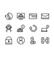 call center service business icons collection line vector image