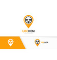 car helm and map pointer logo combination vector image vector image