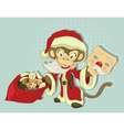 Christmas Monkey Santa with bag of gifts Monkey vector image vector image