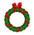 christmas wreath with red bow on a white vector image