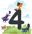 Collection number for kids farm animals - number 4 vector image vector image