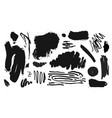 collection of black paint ink brush vector image