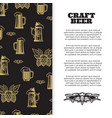 craft beer poster with banner design vector image vector image