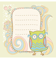 Cute cartoon owl stylish sticker card vector image