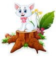 cute cat sit on tree stump vector image vector image