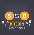 dollar to bitcoin currency exchange vector image vector image