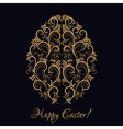 Easter egg with gold floral ornament over black vector image