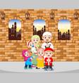 family give greeting ied mubarak vector image vector image