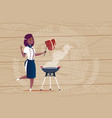 female african american chef cook grilling meat vector image vector image