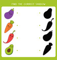 find correct shadow for vegetable vector image vector image