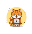 funny and cute cartoon cat with laptop vector image vector image