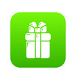 gift box icon green vector image vector image