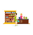 girl make purchases in shopping center vector image vector image