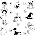 Halloween zombie scary in doodle vector image vector image