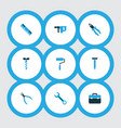 handtools colorful icons set collection of ruler vector image vector image