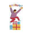 happy boy jumping over vector image vector image