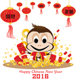 Happy Chinese New Year 2016 Card and Monkey on vector image vector image