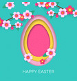 happy easter greeting card egg paper cut vector image vector image