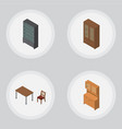 isometric furniture set of cabinet cupboard vector image vector image