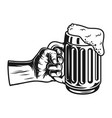 male hand holding beer mug concept vector image vector image