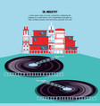 oil industry with marine platform vector image vector image