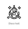 outline disco ball icon isolated black simple vector image vector image