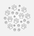 paw prints round minimal line vector image vector image